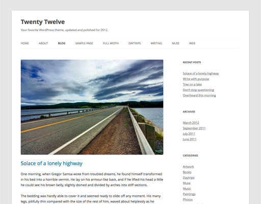Screenshot of the Twenty Twelve WordPress theme