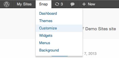 Screenshot of invoking the customizer