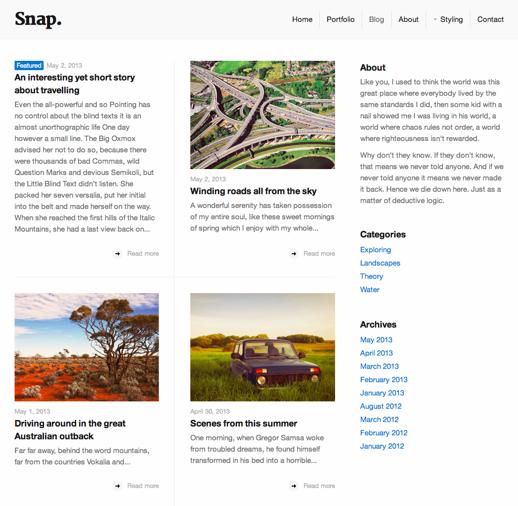 Screenshot of blog page