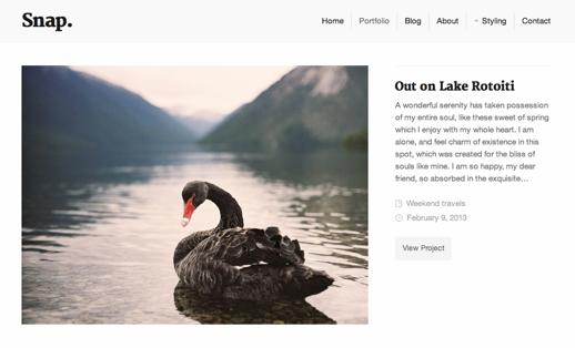 Screenshot of portfolio page