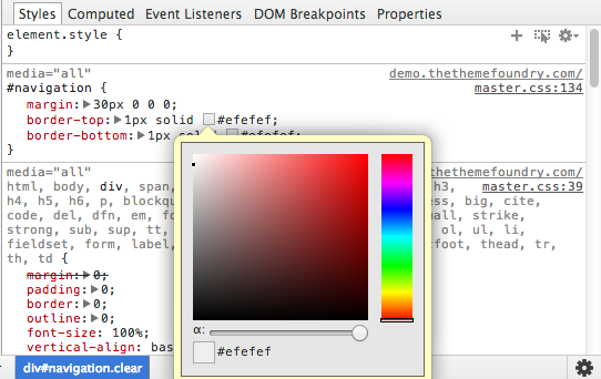 Color picker in Google Chrome DevTools