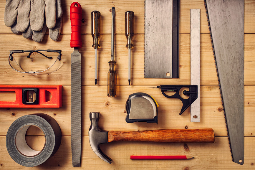 A picture of some tools representing changing WordPress themes.