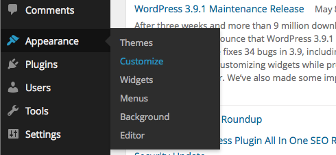 Navigate to WordPress Theme Customizer